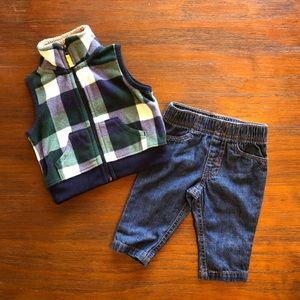 Carters Fleece Vest and Jeans Outfit